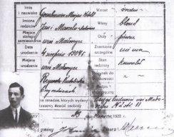 Dowód osobisty Witolda Gombrowicza, 1922 r. wydany przez Urząd Gminy Sadowie, pow. Opatowski