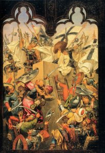 Krzyżacy walczą z sąsiadami, obraz Carla Wilhelma Kolbe (1757-1835)