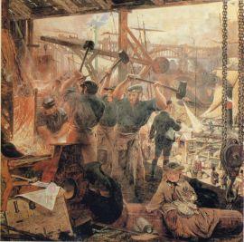 """Rewolucja przemysłowa w XIX-wiecznej Wielkiej Brytanii (William Bell Scott - """"Iron and Coal"""", 1855-1860)"""