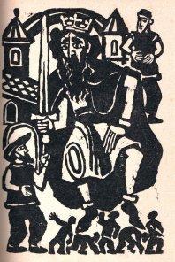 Synowie Hildiridy przynoszą królowi daninę z Finnmarku (Maria Hiszpańska-Neumann, drzeworyt)