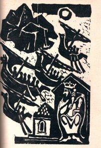 Wikingowie w drodze na wyprawę (Maria Hiszpańska-Neumann, drzeworyt)
